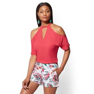 New York & Company pink cold shoulder blouse top